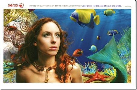 direct-mail-ephemera-Xerox-Phaser-8860-Laser-Printer-Brochure-Insert-Print-Sample-Mermaid-Underwater-Scene